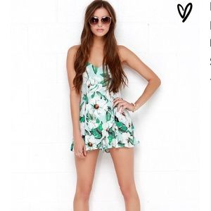 Minkpink Floral Green White Romper XS…